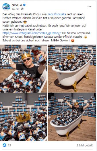 Facebook-Post von Nestea