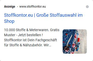 Screenshot Google Ads Bilderweiterung von stoffkontor.eu