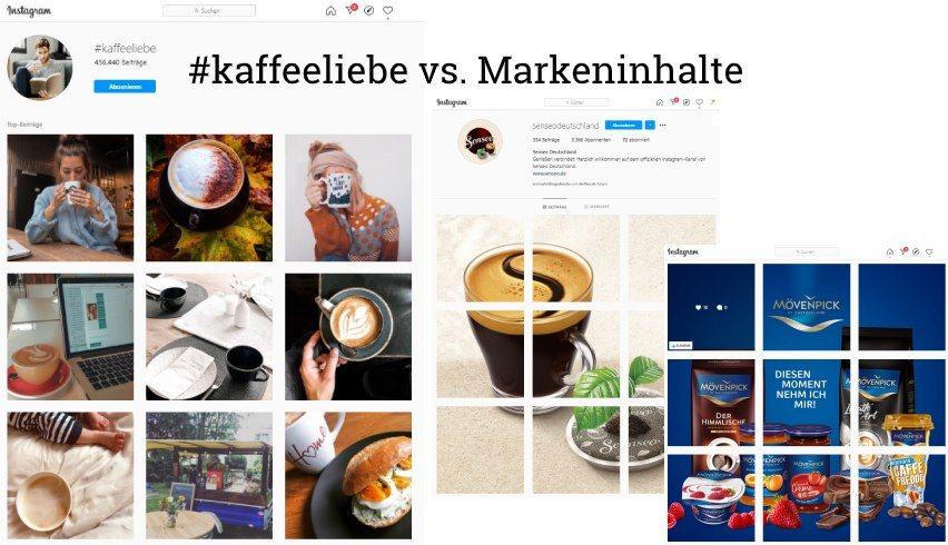 Screenshot Instagram-Suche nach Hashtag #kaffeeliebe Bilder mit Kaffee kachelförmig angeordnet