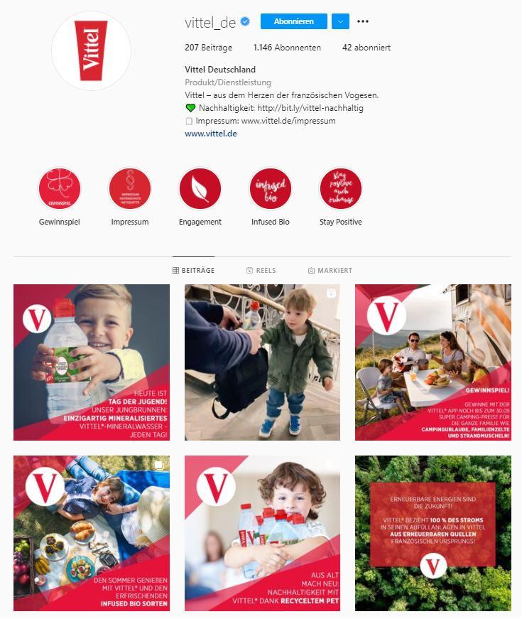 Instagram-Profil von Vittel