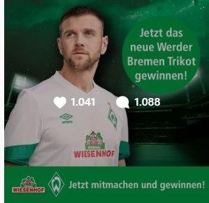 Gewinnspiel Werder Bremen Trikot von Wiesenhof auf Instagram