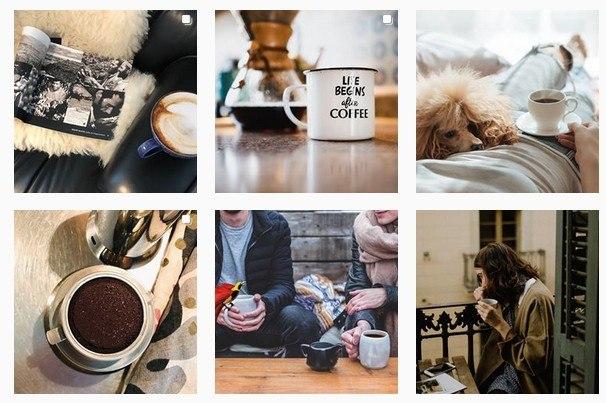 Bilder in Kacheln dargestellt rund um das Thema Kaffee
