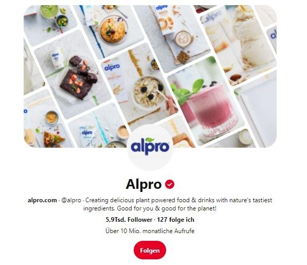 Screenshot Pinterest-Profil von Alpro