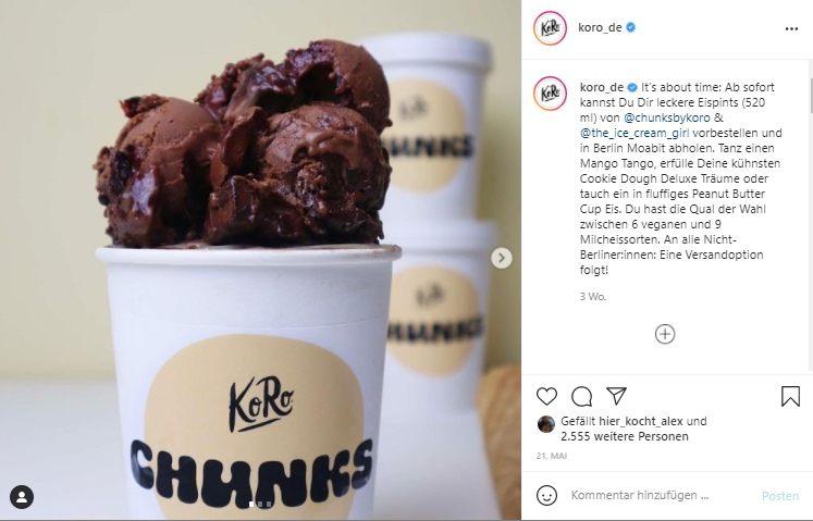 Screenshot Instagram-Beitrag von koro.de