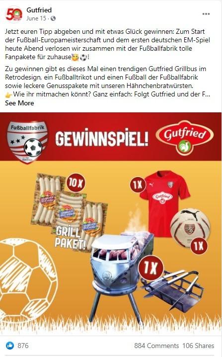 Gewinnspiel zur Fußball-EM von Gutfried auf Facebook