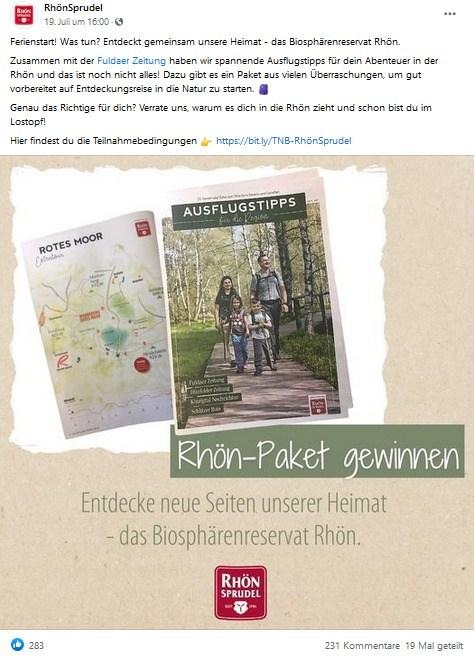 Facebook-Beitrag von RhönSprudel
