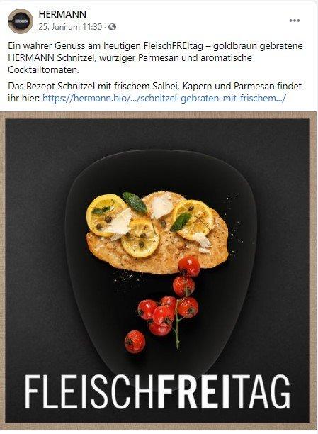Content-Reihe FleischFREItag von Hermann auf Facebook
