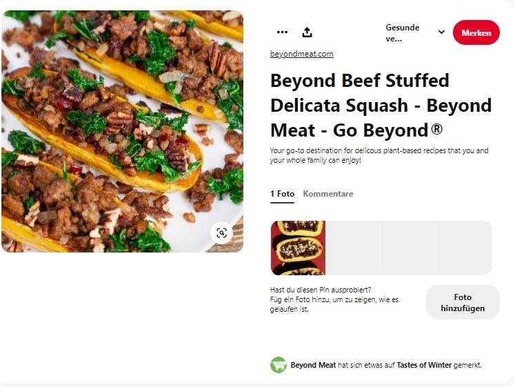 Pinterest-Beitrag von Beyond Meat