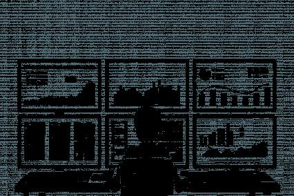 Eine Person sitzt vor mehreren Bildschirmen, die lauter verschiedene Kennzahlen und Grafiken zeigen