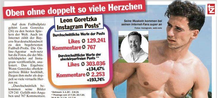 Leon Goretzka mit freiem Oberkörper, Bild zeigt Ausschnitt aus Zeitung tz München