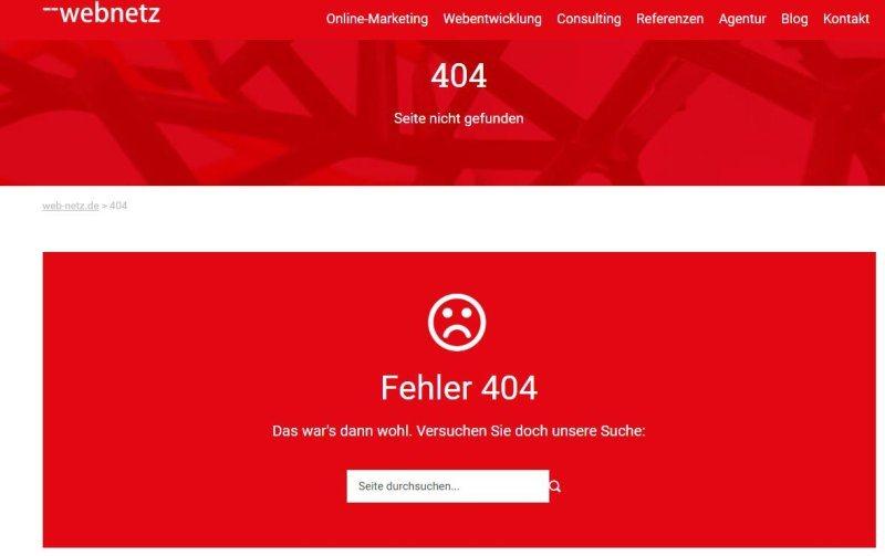 Beispiel der 404-Fehlerseite von web-netz