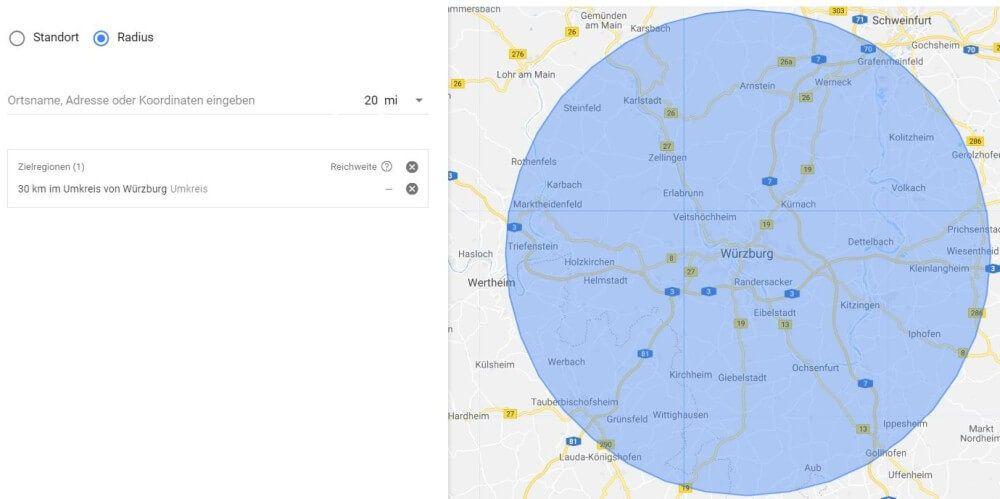 Umkreisbestimmung bei AdWords