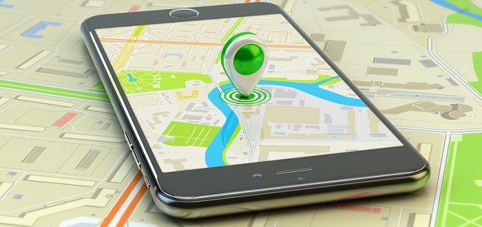 Smartphone auf Map