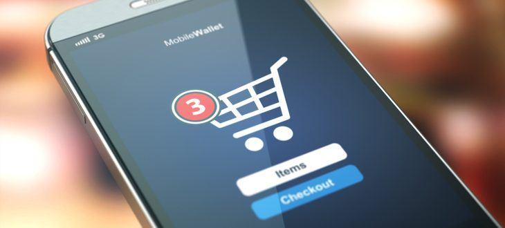 Smartphone mit Warenkorb