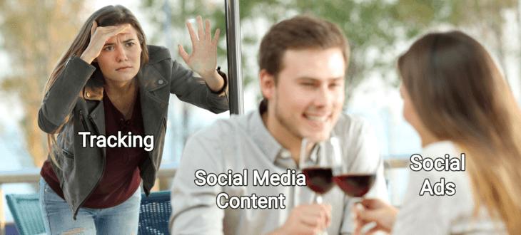 Frau beobachtet Paar beim Wein trinken
