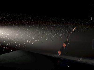 Eine Gitarre auf der Bühne