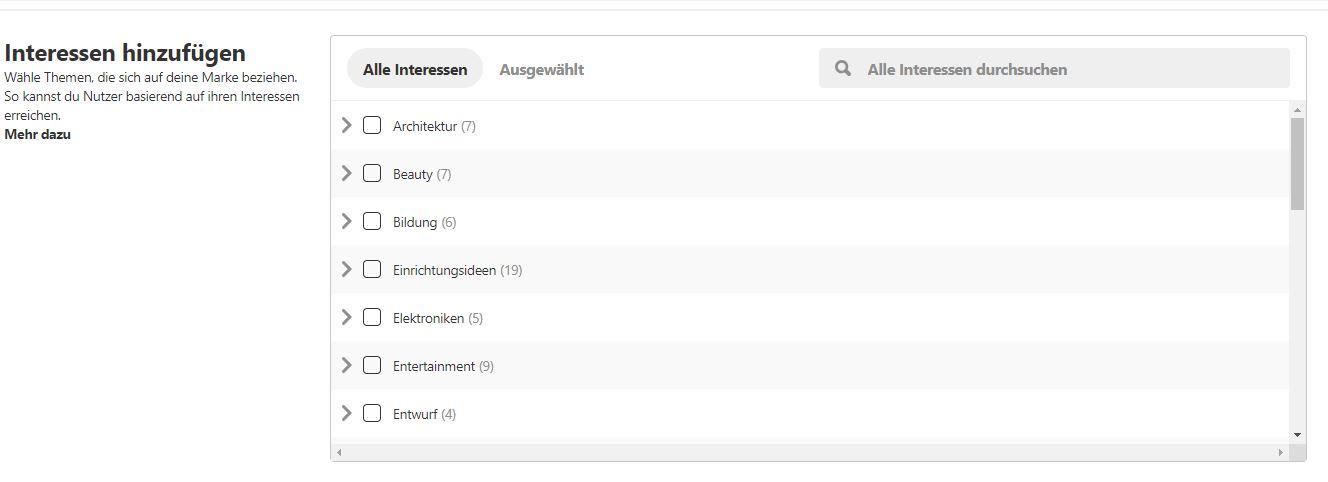 Screenshot Interessen-Targeting