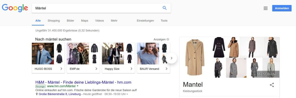 """Showcase Shopping Ad in der Google-Suche zum Keyword """"Mäntel"""""""