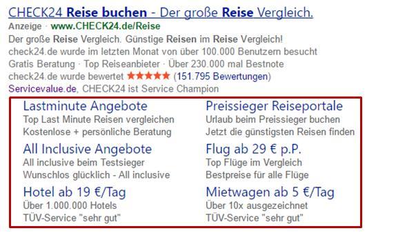 Bing-Anzeigenerweiterung: Sitelinks