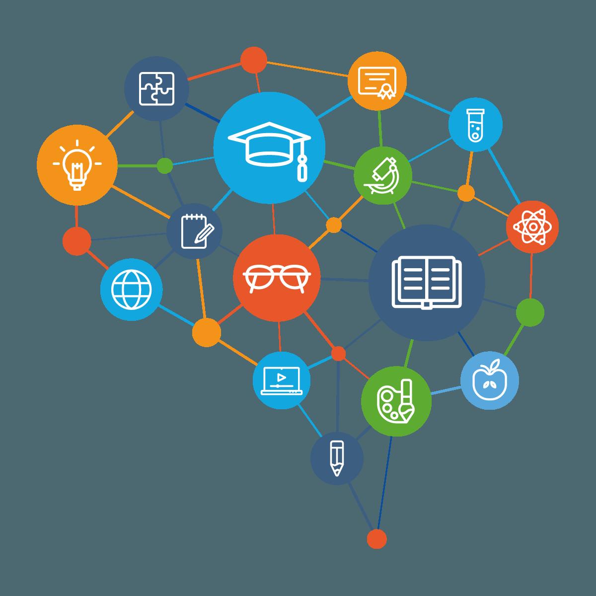 Grafik mit verschiedenen Icons als Mindmap zum Thema Ausbildung