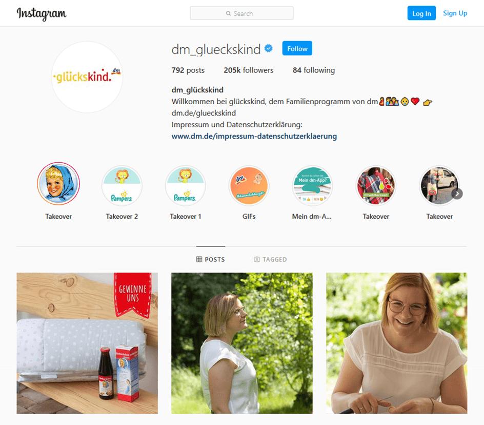 Instagram Account von DM Glückskind
