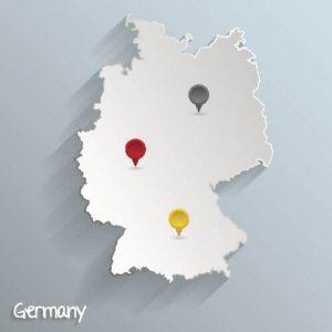 Deutschlandkarte mit Ziel-Pins