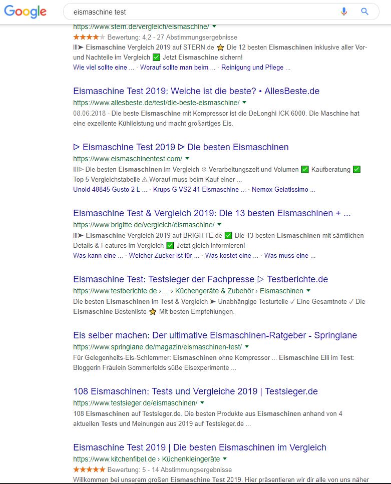 Screenshot der Google Suche zur Anfrage Eismaschinen Test
