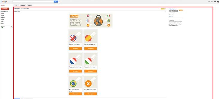 Gmail Posteingang mit Werbung