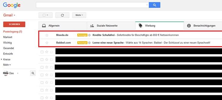 Gmail Posteingang Werbung