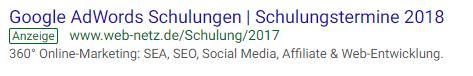 Beispiel einer Google Adwords-Anzeige