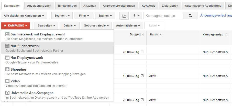 Google Adwords Kampagnen-Begrenzung