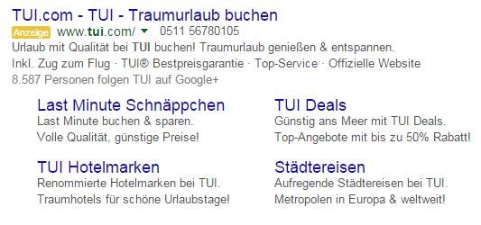 Google Anzeigenerweiterung für AdWords
