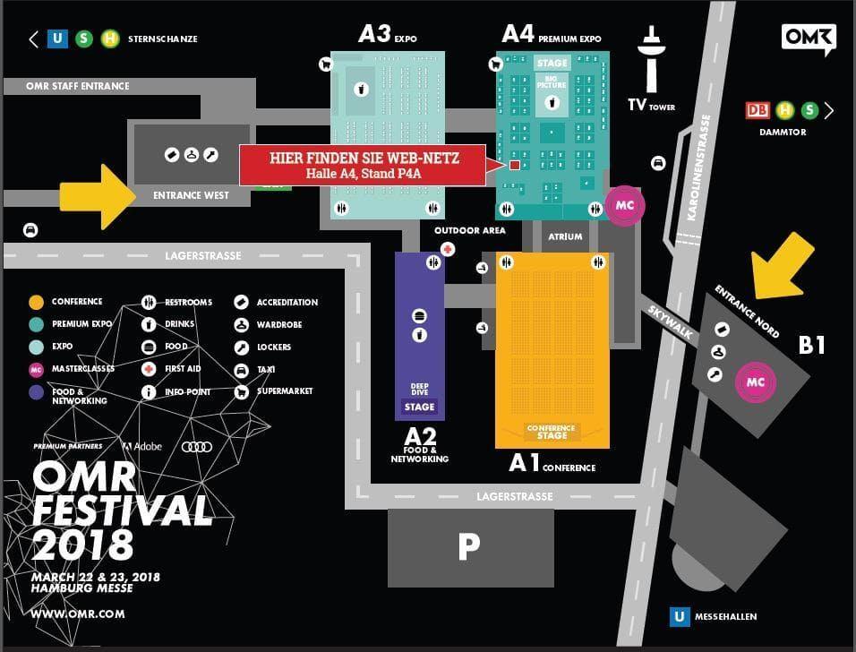 Lageplan OMR-Festival: web-netz Messestand