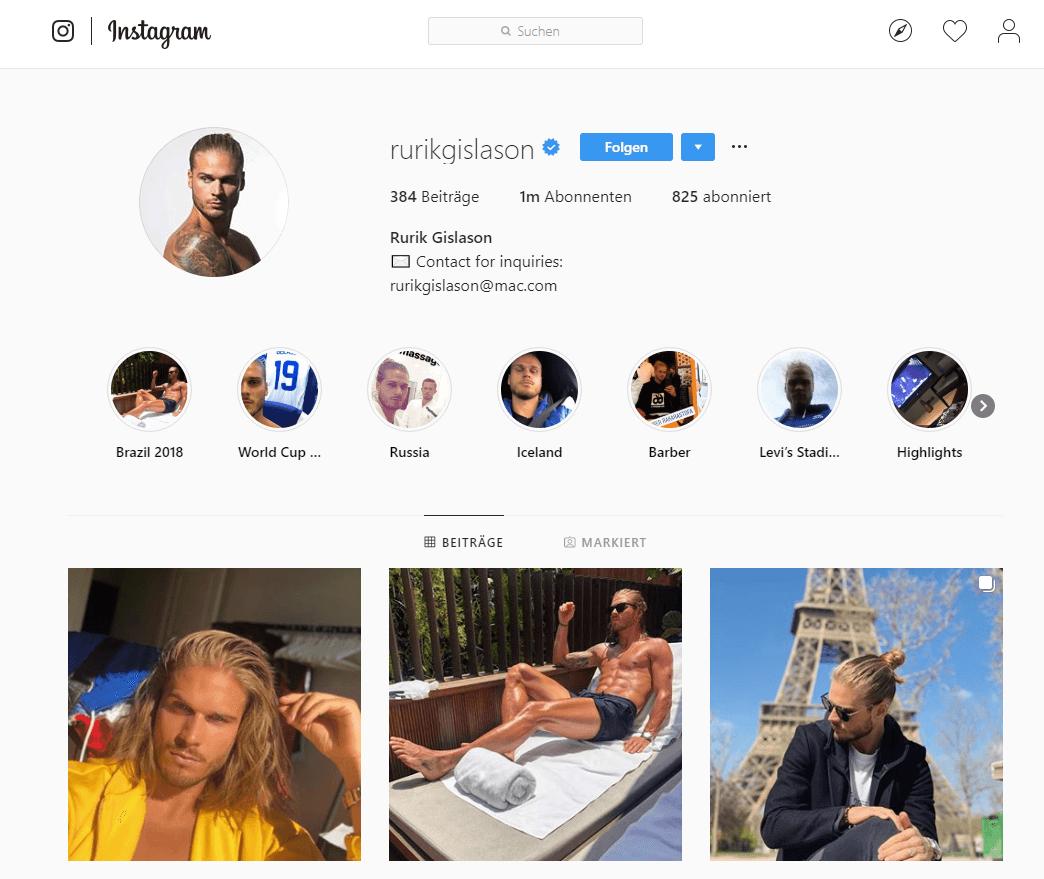 Screenshot von Instagram-Profil rurikgislason