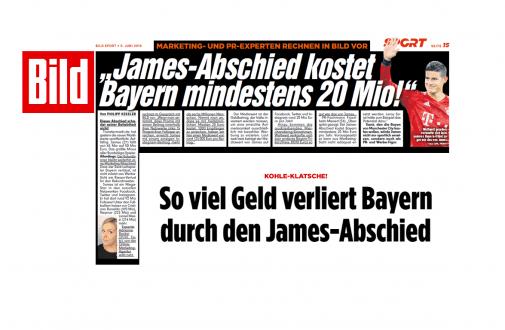 """""""Bild"""" zieht web-netz-Experten hinzu: Abschied von Superstar James Rodriguez kostet FC Bayern mindestens 20 Millionen Euro"""