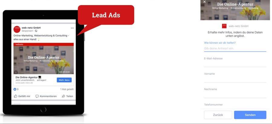 Lead Ad bei Facebook