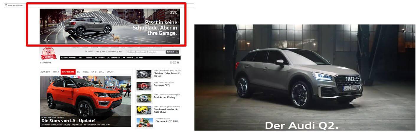 Beispiel Lightbox-Anzeige Audi auf autobild.de