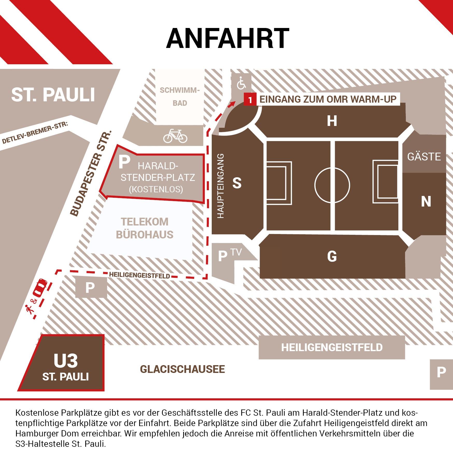 Lageplan und Anfahrt zum OMR-Breakfast im Millerntor-Stadion