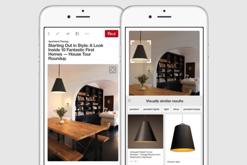 Pinterest-Screenshot visuelle Suche