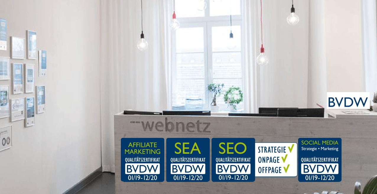 Übersicht der Zertifikate für web-netz in 2019