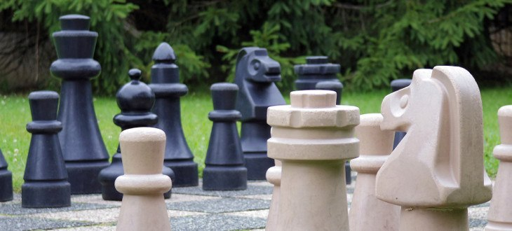 life size chess in the garden