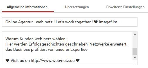 Screenshot Titel + Beschreibung YouTube-Channel