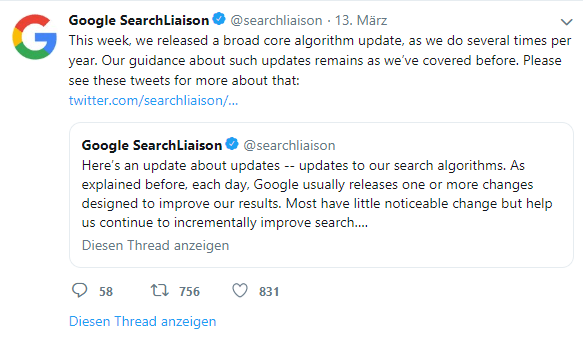 Screenshot Tweet von SearchLiaisson
