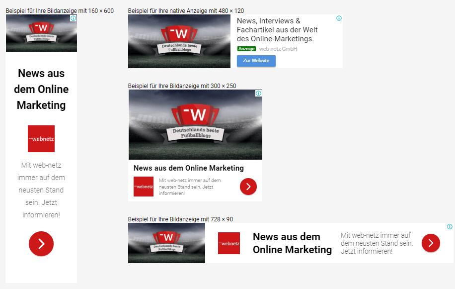 Screenshot von responsive Displayanzeige