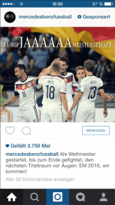 Sponsered Instagram Ad Mercedes