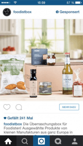 Sponsered Instagram Ad foodistbox