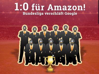 Stilisierte Mannschaft im Stadion mit Text: 1:0 für Amazon! Bundesliga verschläft Google