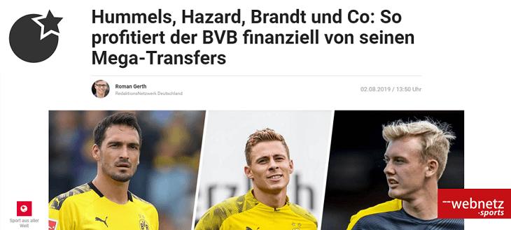 Hummels, Hazard, Brandt und Co: So profitiert der BVB finanziell von seinen Mega-Transfers