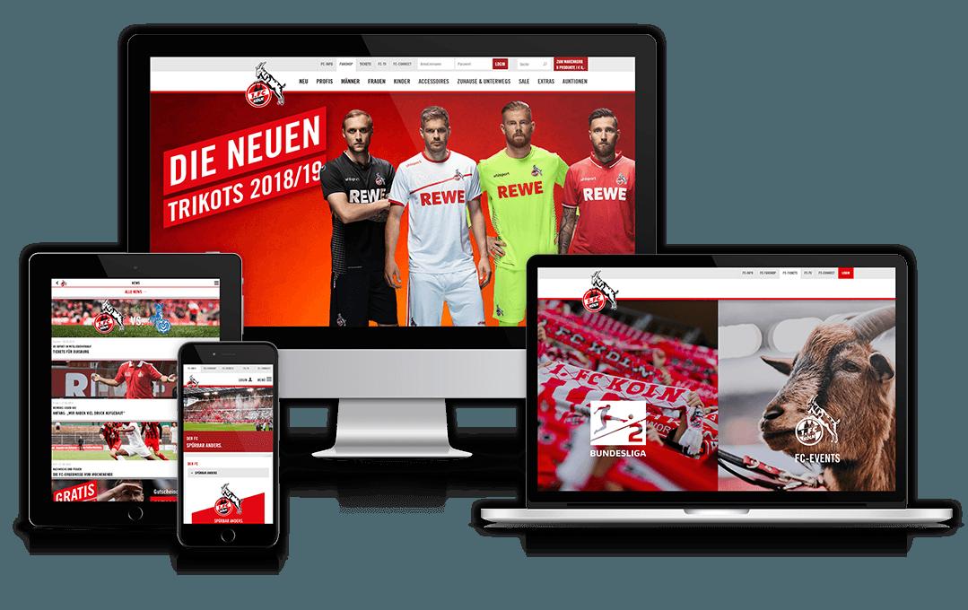Website des 1. FC Köln auf unterschiedlichen Geräten