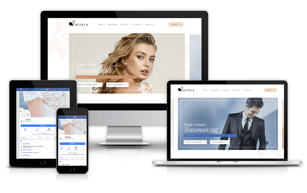 Website von Avinia auf unterschiedlichen Geräten